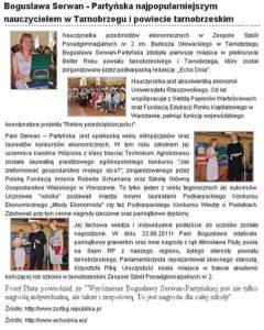 Boguslawa Serwan-Partynska najpopularniejszym nauczycielem w Tarnobrzegu - www.mojadolina.pl 2011.06