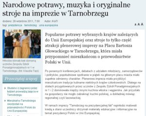 Narodowe potrawy muzyka i oryginalne stroje na imprezie w Tarnobrzegu - Echo Dnia 2011.09