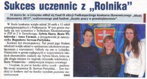 Sukces uczennic z Rolnika Tygodnik Nadwislanski 2011-03-24